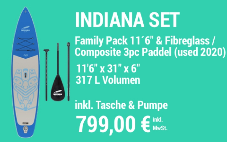 MAIN SUP Showroom IND SET Family Pack 2020 11.6 blue IND Paddle